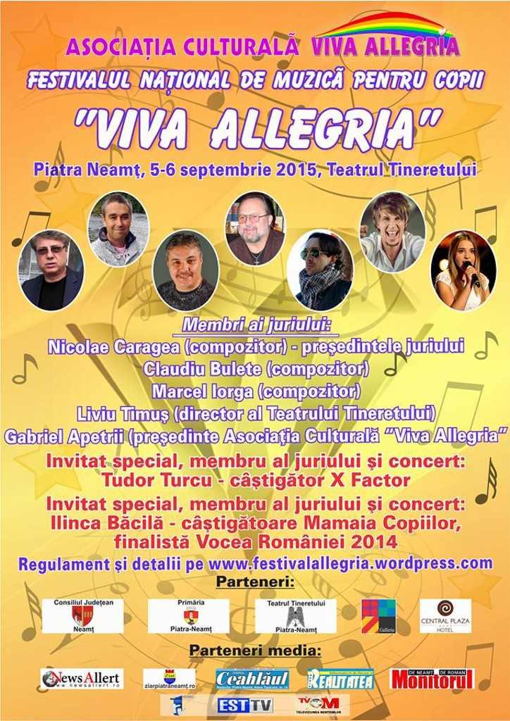 """Concurență acerbă la Festivalul Național de Muzică pentru Copii """"VIVA ALLEGRIA"""" Piatra Neamț"""