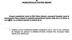 Convocare ședință extraordinară a Consiliului Local Piatra Neamț