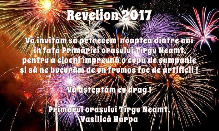 Invitația primarului orașului Tîrgu Neamț, Vasilică Harpa, cu ocazia Anului Nou 2017