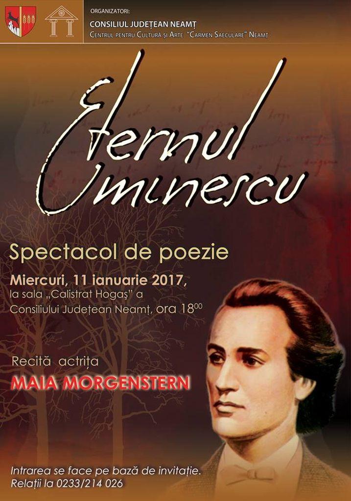 """""""Eternul Eminescu"""" – recital extraordinar de poezie la Piatra Neamț, susținut de Maia Morgenstern"""