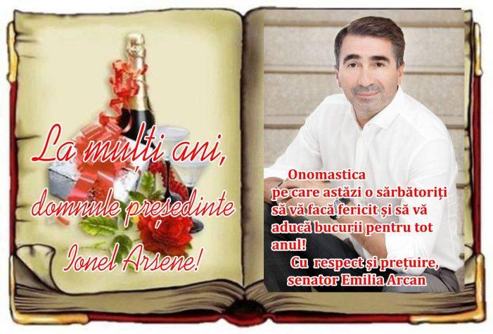Senatorul PSD Emilia Arcan: La mulți ani, domnule preşedinte Ionel Arsene