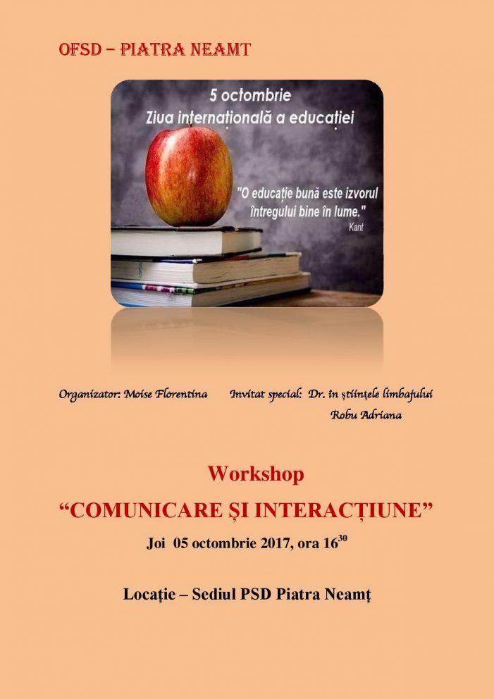 Seminar dedicat Zilei Internaționale a Educației, organizat la Piatra-Neamț