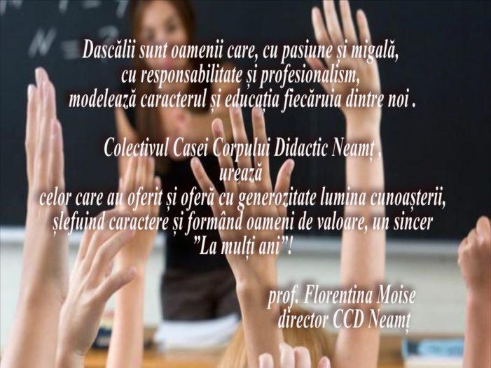 Mesajul Florentinei Moise, directorul Casei Corpului Didactic Neamț, cu prilejul Zilei Mondiale a Educației