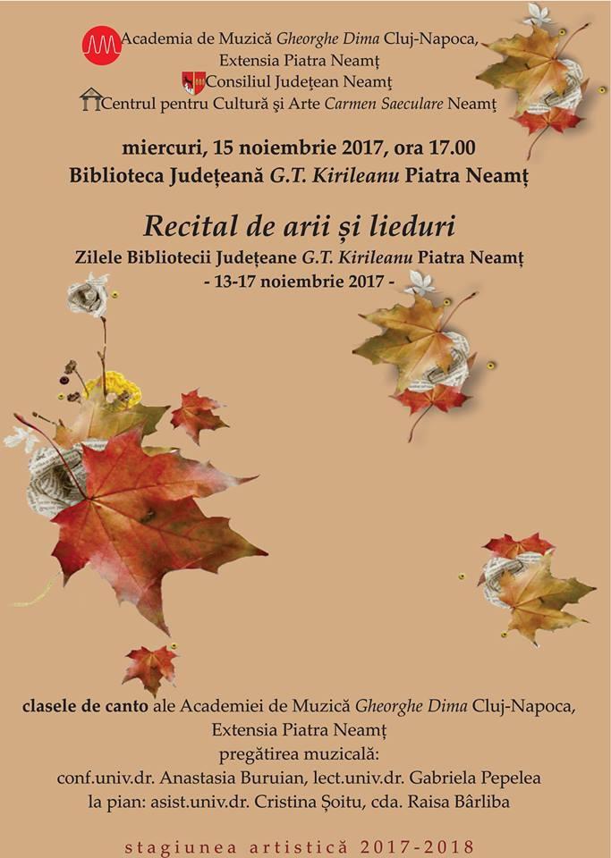 """Miercuri (15 noiembrie): Recital de arii și lieduri la Biblioteca """"G.T. Kirileanu"""""""