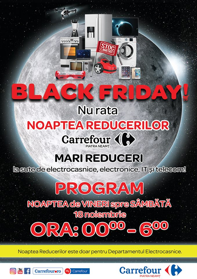 Nebunie la Carrefour Piatra-Neamț! Anunțul care interesează pe toată lumea! Noaptea REDUCERILOR!