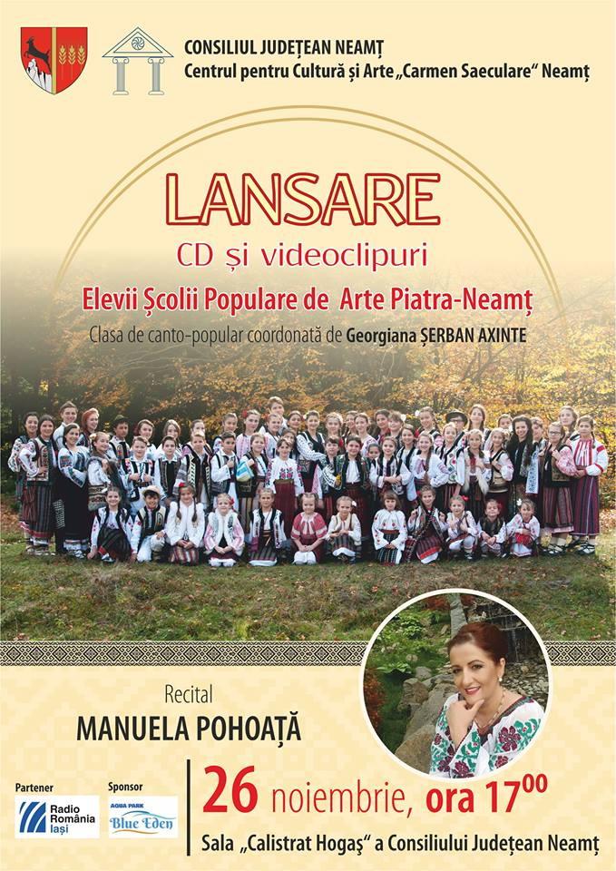 """Debut discografic petru cursanții clasei de canto populara Centrului pentru Cultură şi Arte """"Carmen Saeculare"""""""