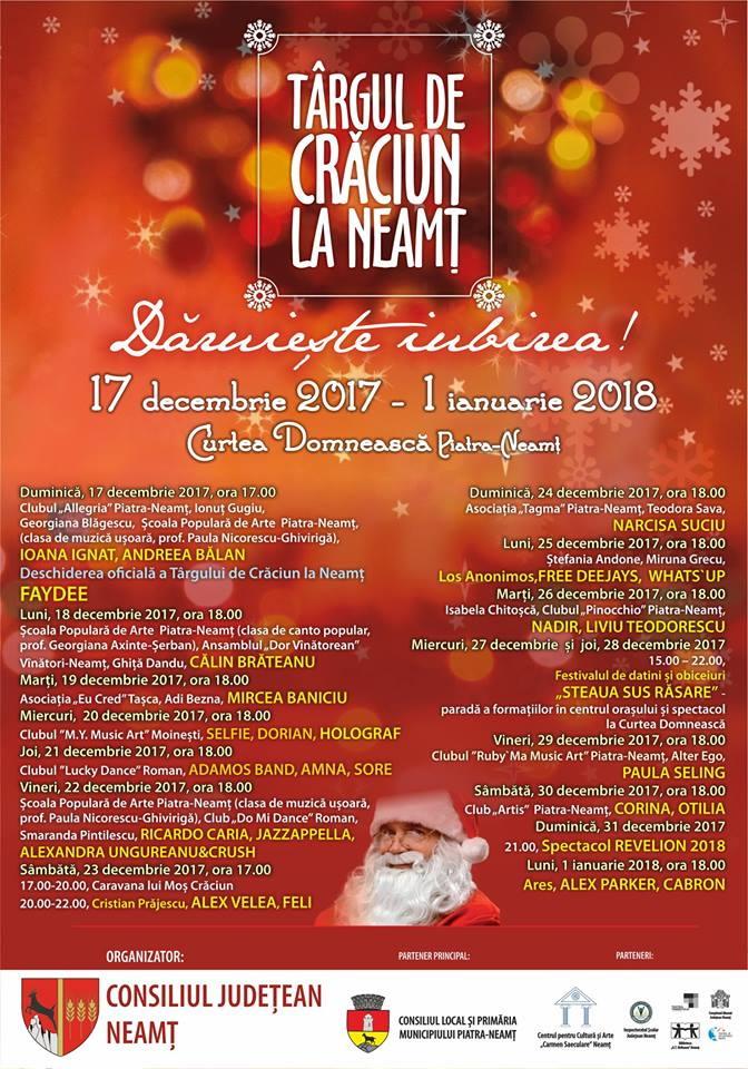 Programul complet pe zile și ore al concertelor din cadrul Târgului de Crăciun la Neamț