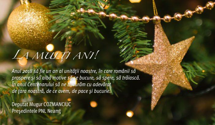 Mesajul deputatului Mugur Cozmanciuc, președintele PNL Neamț, cu prilejul Anului Nou 2018