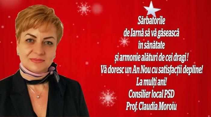 Mesajul consilierului local PSD, Claudia Moroiu, cu prilejul Crăciunului